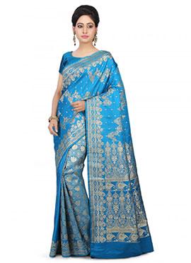 Blue Pure Benarasi Silk half N Half Saree