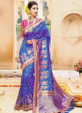 Blue Pure Benarasi Silk Saree