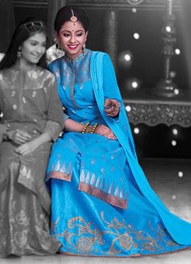 Blue Pure Chanderi Silk Long Choli A Line Lehenga