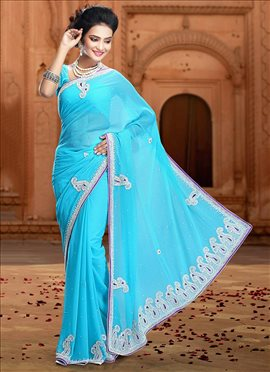 Blue Pure Chiffon Saree