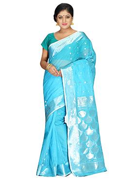 Blue Pure Cotton Tangail Saree