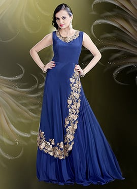 Blue Pure Crepe Anarkali Gown