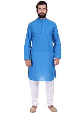 Blue Pure Handloom Cotton Kurta Pyjama
