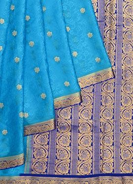 Blue Pure Handloom Mysore Silk Saree