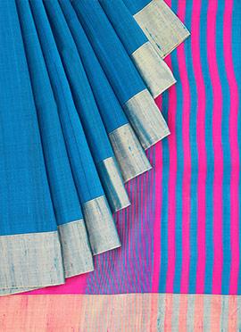 Blue Pure Raw Silk Saree