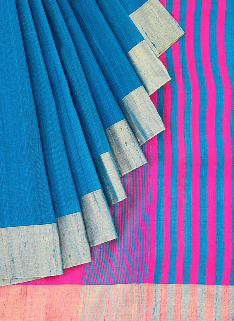Buy Blue Pure Raw Silk Saree, Zari , Handloom, sari Online ...
