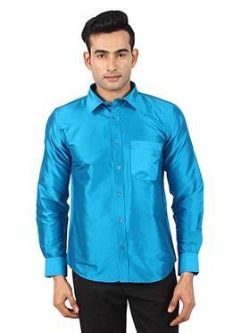 Blue Pure Raw Silk Shirt