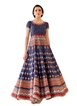 Blue Pure Silk Anarkali Gown