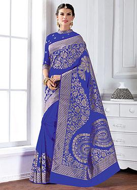 Blue Raw Art Silk Saree