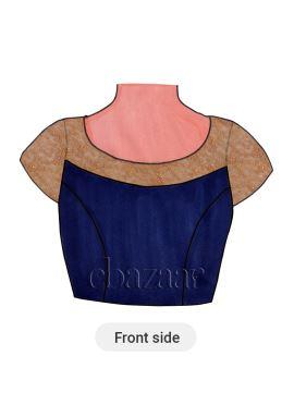 Blue Raw Art Silk Short Sleeve Blouse