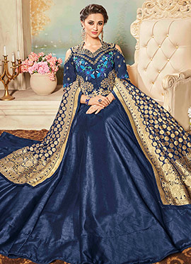 Blue Raw Silk A Line Lehenga