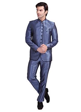 Blue Rayon Bandhgala Suit