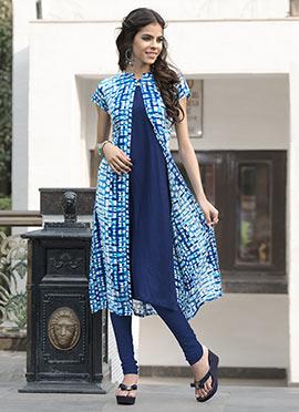 Blue Rayon Cotton Jacket Style Kurti