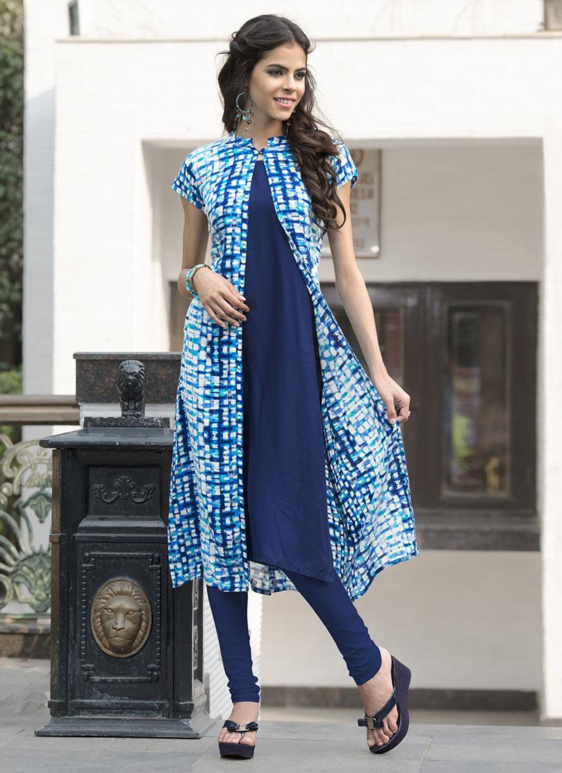 Buy Blue Rayon Cotton Jacket Style Kurti Knee-length-kurti Online Shopping KRSPRK9812