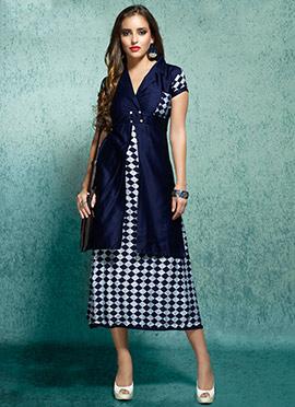 Blue Rayon Cotton Linen Kurti