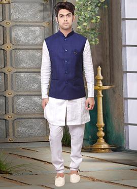 Blue Rayon Nehru Jacket
