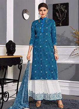 Blue Satin Blend Palazzo Suit