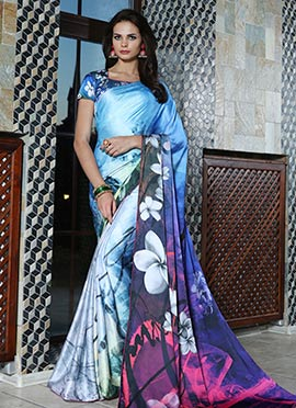 Blue Satin Blend Saree