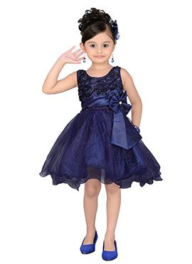 Blue Satin Net Kids Dress