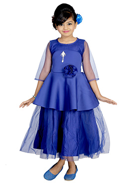 Blue Satin Net Kids Gown
