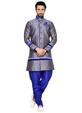 Blue Shade Breeches Style Indowestern Sherwani