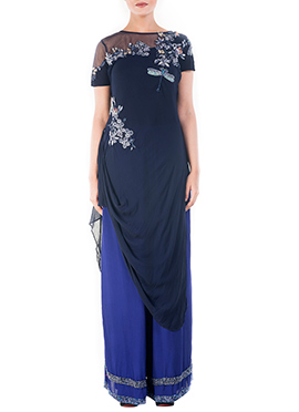 Blue Shade Georgette Palazzo Set