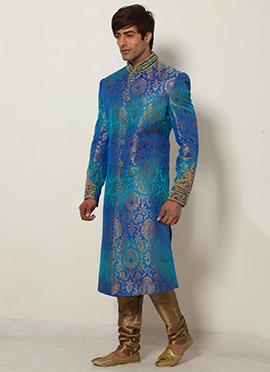 Blue Shade Jacquard Sherwani