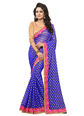 Blue Shimmer Georgette Saree