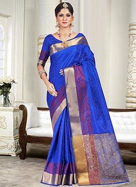 Blue Silk Cotton Foliage Designed Border Saree