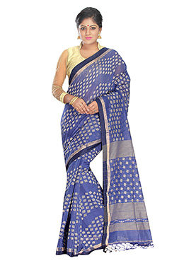 Blue Silk Cotton Jamdani Saree
