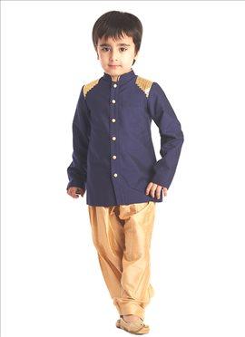 Blue Silk Cotton Kids Kurta Pyjama