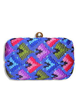 Blue Silk Embroidered Box Clutch
