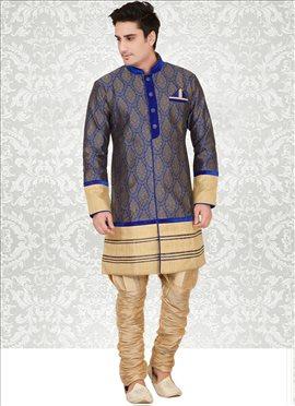 Blue Silk Indowestern Sherwani