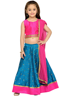 Blue Silk Kids Lehenga Choli