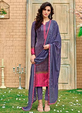 Blue Silk Satin Churidar Suit