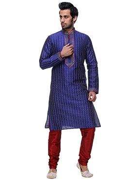 Blue Silk Kurta Pyjama