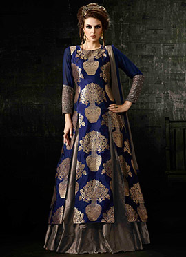 Blue Silk Zari Weaved Long Choli A Line Lehenga