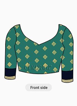 Blue Slub Green Art Silk Inspired Blouse