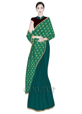 Blue slub green Half N Half Art silk Saree