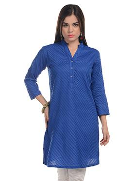 Blue Stripes Cotton Kurti