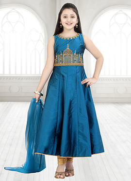 Blue Taffeta Anarkali Suit