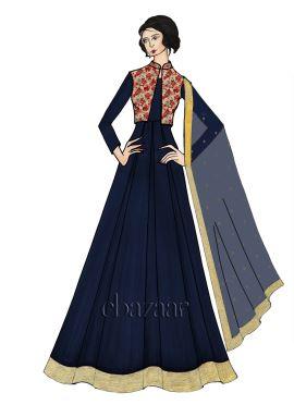 Blue Taffeta Full Sleeve Abaya Set