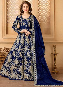 Blue Taffeta Silk Abaya Style Anarkali Suit