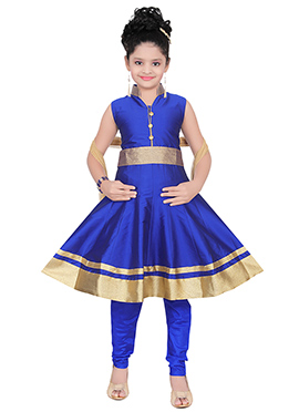Blue Taffeta Silk Kids Anarkali Suit
