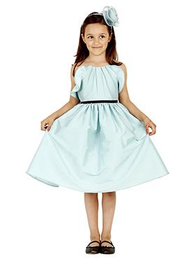 Blue Taffeta Silk Kids Dress