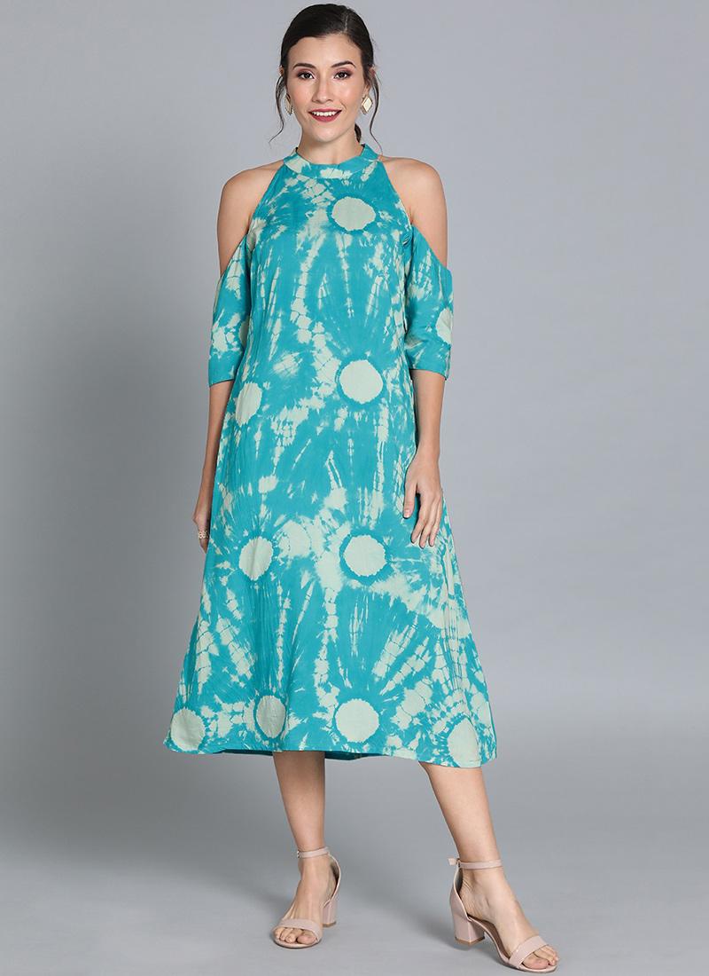 Blue TENCEL Halter Neck Dress