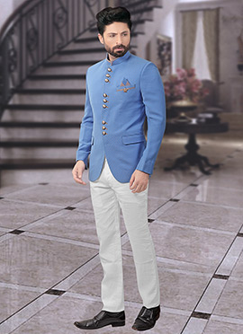 Blue Terry Rayon Bandhgala Suit