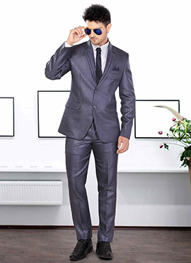 Blue Terry Rayon Lapel Style Suit