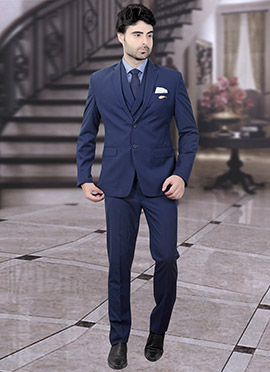 Blue Terry Rayon Lapel Suit