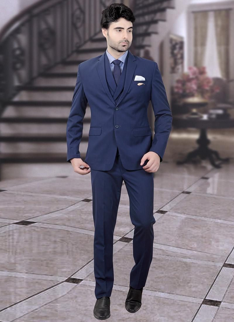 878dee7e25 Buy Blue Terry Rayon Lapel Suit, Sangeet , Party Wear, lapel suits ...